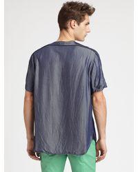 Richard Chai | Blue Washed Denim Baseball Shirt for Men | Lyst