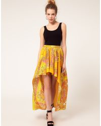 River Island | Yellow Scarf Print Dipped Hem Skirt | Lyst