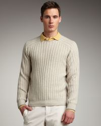 Brunello Cucinelli - Natural Ribbed Raglan-sleeve Sweater for Men - Lyst