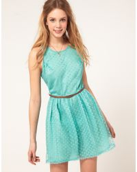 Love - Green Spot Mesh Belted Skater Dress - Lyst