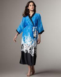Oscar de la Renta - Blue Long Floral Impressions Robe - Lyst