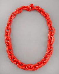 Tory Burch - Chunky Resin-link Necklace, Red - Lyst