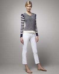 Tory Burch | White Cropped Skinny Jean | Lyst