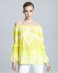 Naeem Khan | Yellow Off-the-shoulder Peasant Blouse | Lyst