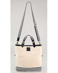 Tory Burch - Natural Kailey Messenger Canvas Stripes Tote - Lyst