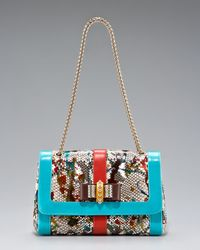 Christian Louboutin | Multicolor Sweet Charity Python Bag | Lyst
