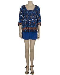 Tibi - Blue Silk Shorts - Lyst