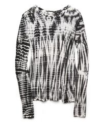 Proenza Schouler | Gray Long Sleeve Tie Dye Tee Shirt in Black/ White | Lyst