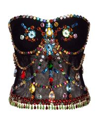 Dolce & Gabbana   Black Crystal-embellished Stretch-tulle Bustier   Lyst