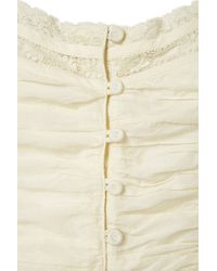 TOPSHOP | White Lace Button Front Crop Top | Lyst