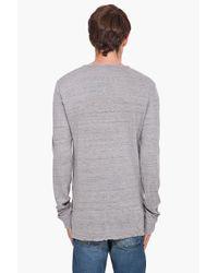 Balmain - Gray Henley Jersey T-shirt for Men - Lyst