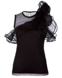 Valentino | Black Ruffle Detail Top | Lyst