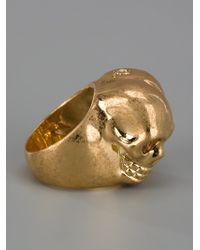 Alexander McQueen - Metallic Siamese Skull Ring - Lyst