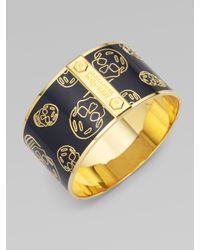 Alexander McQueen - Blue Largeskull Cuff Bracelet - Lyst