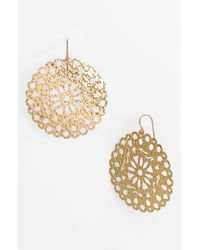 Argento Vivo | Metallic Artisanal Lace Round Drop Earrings | Lyst