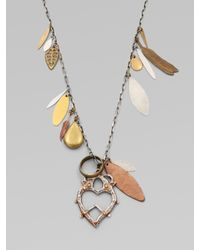 Bing Bang | Metallic Mixed Charm Witchs Heart Pendant Necklace | Lyst