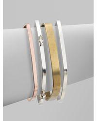Bing Bang | Metallic Tritone Square Bangle Bracelet Set | Lyst