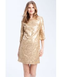 Donna Ricco | Beige Sequined Shift Dress | Lyst