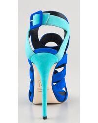 Giuseppe Zanotti | Blue Cutout Suede Sandals | Lyst