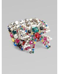 Miu Miu - White Swarovski Crystal Accented Multi-row Bow Bracelet - Lyst