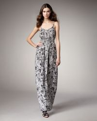 Theory   Black Flower Wall Maxi Dress   Lyst