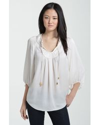 Vince Camuto | Natural Peasant Blouse | Lyst