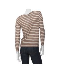 Vince - Brown Striped Linen Boatneck Sweater - Lyst