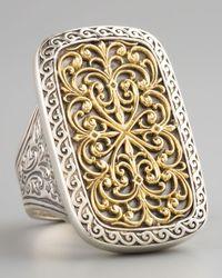 Konstantino - Metallic Rectangle Filigree Ring - Lyst
