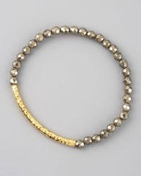 Tai | Gray Pyrite Beaded Stretch Bracelet | Lyst