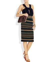 Burberry Prorsum | Brown High-waisted Knitted Pencil Skirt | Lyst