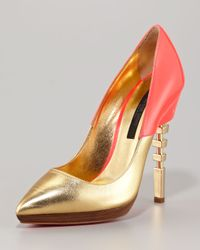 Ruthie Davis | Metallic Cutout-heel Pointed-toe Pump | Lyst