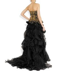 Alexander McQueen | Black Embroidered Silk-Faille And Organza Gown | Lyst