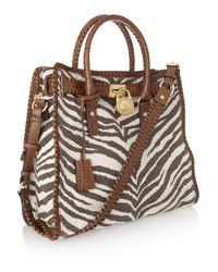 MICHAEL Michael Kors - Brown Medium Grayson Monogram Satchel, Beige/red - Lyst