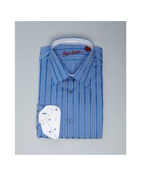 Robert Graham | Blue Chuck Striped Dress Shirt for Men | Lyst