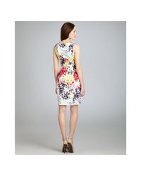 Love Moschino - Multicolor Blueberry Watercolor Print Stretch Cotton Ruffle Front Shift Dress - Lyst