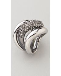 Michael Kors - Metallic Safari Glam Black Diamond Stacking Rings - Lyst