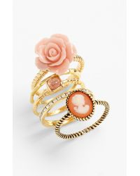 Ariella Collection | Pink Floral & Cameo Stack Rings | Lyst