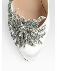 Manolo Blahnik | White Embellished Satin Point Toe Pumps | Lyst