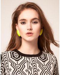ASOS - Yellow Neon Oversize Clip On Stud Earrings - Lyst