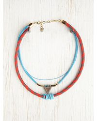 Free People | Blue Tribal Rope Layering Necklace | Lyst
