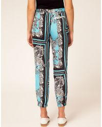 River Island | Blue Scarf Printed Trouser | Lyst