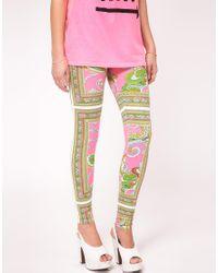 River Island   Pink Bright Scarf Print Legging   Lyst