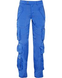 Ralph Lauren Black Label | Blue Bond Crinkled-satin Cargo Pants | Lyst