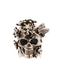 Alexander McQueen - Metallic Skull Flower Ring - Lyst