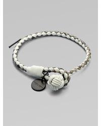 Bottega Veneta   Metallic Intrecciato Mixed Leather Wrap Bracelet   Lyst