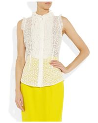 L'Wren Scott - White Ruffled Lace and Tulle Blouse - Lyst