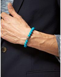 Simon Carter - Blue Beaded Skull Bracelet for Men - Lyst