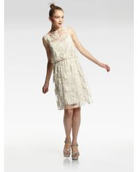 Alice + Olivia - Natural Darcy Lace Layover Dress - Lyst