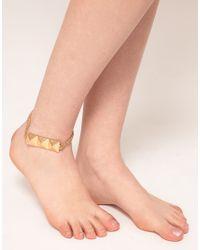 ASOS - Metallic Pyramid Anklet Chain - Lyst