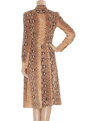 Chloé - Brown Python-print Silk Dress - Lyst